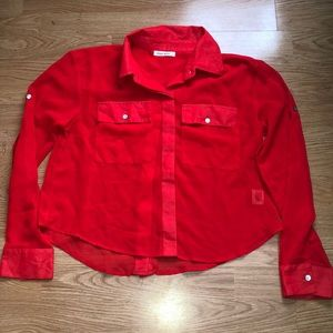 Red silky button down shirt